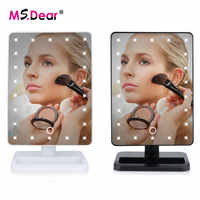22 LEDs Light Adjusted Touch Screen Makeup Mirror 360 Degree Rotating Vanity Square Desk Stand Cosmetic Mirror Make Up Tools