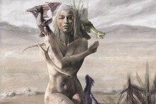 Daenerys Targaryen & three dragons poster Fabric Silk Poster with DIY Frame