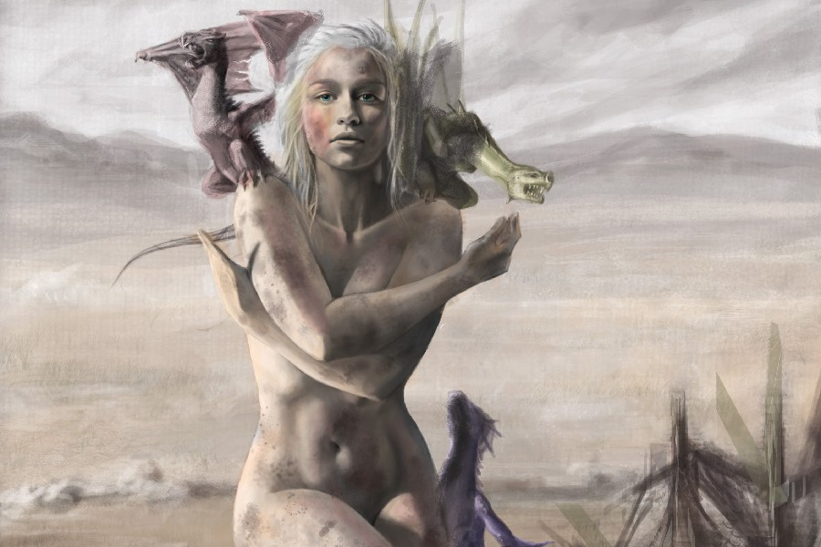 DIY frame Game of Thrones TV Series Daenerys Targaryen & three dragons Poster Fabric Silk Poster Print Picture