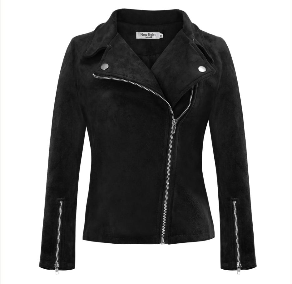 Modecrush Women Plus Size   Suede   Faux   Leather   Jacket 2019 Spring Autumn Winter Side Zipper Turn Down Collar Oversized Outerwear