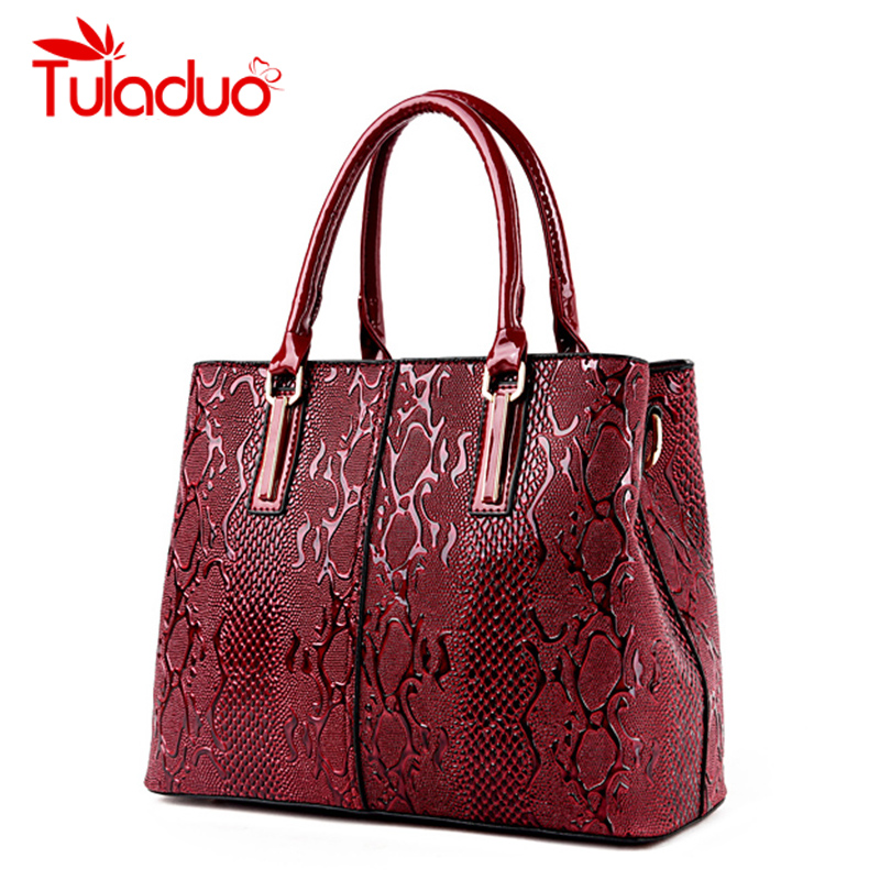 ФОТО TuLaduo Women Genuine Leather Bag Snake Pattern High Quality Bags Bride Tote Bag Women Wedding Handbag Brand Designer Tote Sac