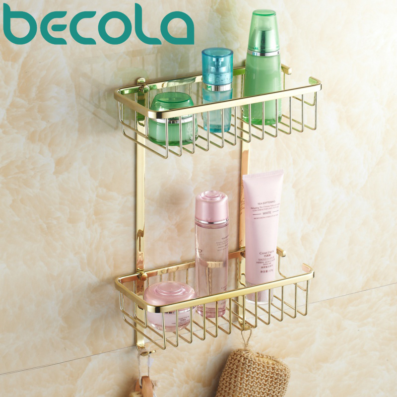 Free Shipping Becola New Bathroom Accessories Basket Gold Plated Brass Bathroom Shelves Br 6702