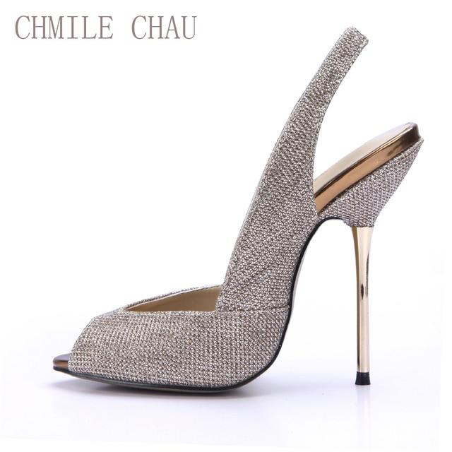 effa6fbe51c8 CHMILE CHAU Glitter Sexy Women Party Pumps Peep Toe Stiletto Iron High Heels  Slingback Ladies Shoes Zapatos Mujer Tacon 3845-g5