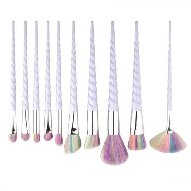 10 Pcs Thread Makeup Brushes Set Eyebrow Eyeliner Make Up Tools Foundation Natural Beauty Eyes Faced Colorful Rainbow Hair