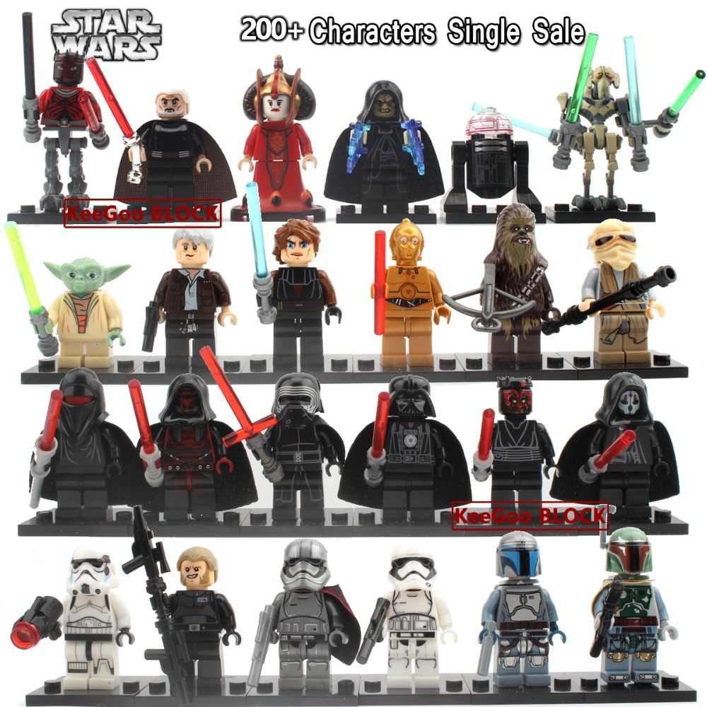 Single Sale Star Wars Action Figures Yoda Obi Wan Han Solo clone troopers Sith Classic figures compatible with legoe toys Gifts
