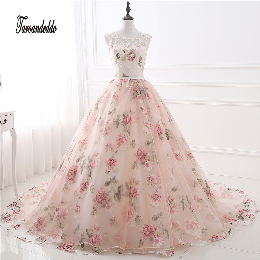 In Stock Cheap Appliques Wedding Dress Print Flowers Organza Ball Gowns Rose Flowers Lace Bridal Dresses vestidos de festa