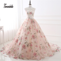 In Stock Cheap Appliques Wedding Dress Print Flowers Organza Ball Gowns Rose Flowers Lace Bridal Dresses vestidos de festa