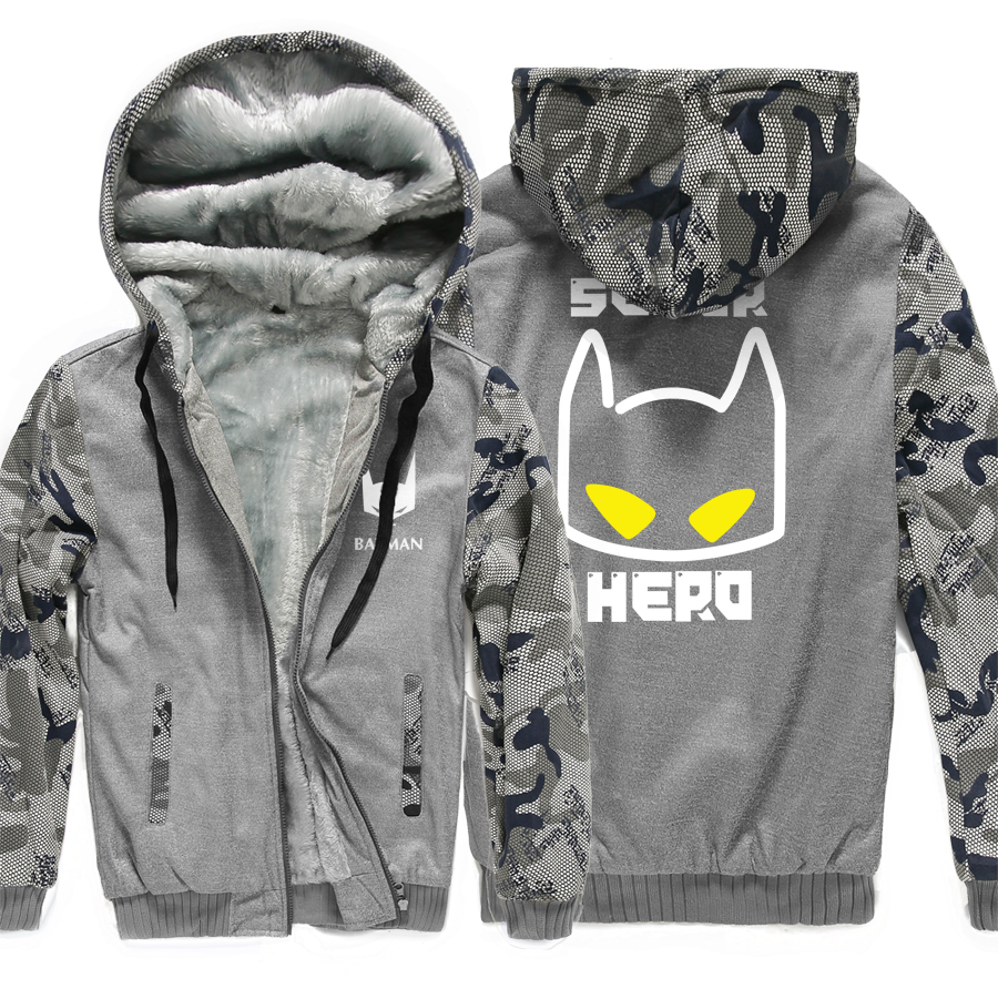 Winter Jacket Men 2018 Hot Sale Sweatshirt Super Hero BATMAN Print Thick Fleece Hoodies Men Hip Hop Casual Men's Sportswear Kpop