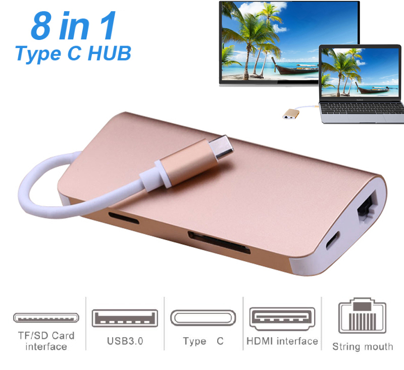 8 in 1 USB C HUB Type C to 3 USB 3.0 HDMI TV Video Adapter RJ45 Ethernet Network SD SDHC TF Card Reader Converter For Macbook