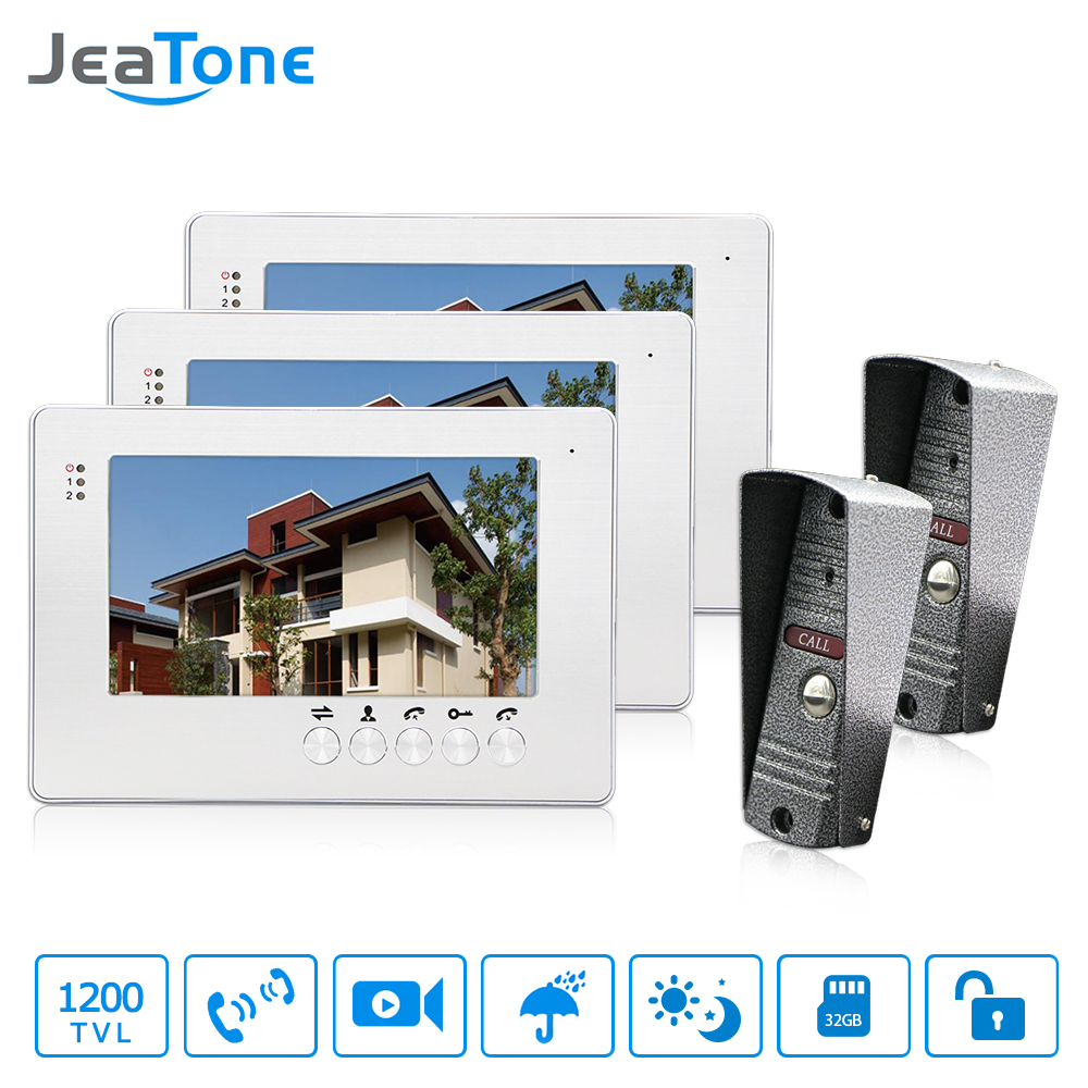 JeaTone NEW 7 inch LCD TFT Color Video Door Phone Intercom System 1200TVL Outdoor Camera IR Night Vision Unlocking Door tmezon 4 inch tft color monitor 1200tvl camera video door phone intercom security speaker system waterproof ir night vision 4v1