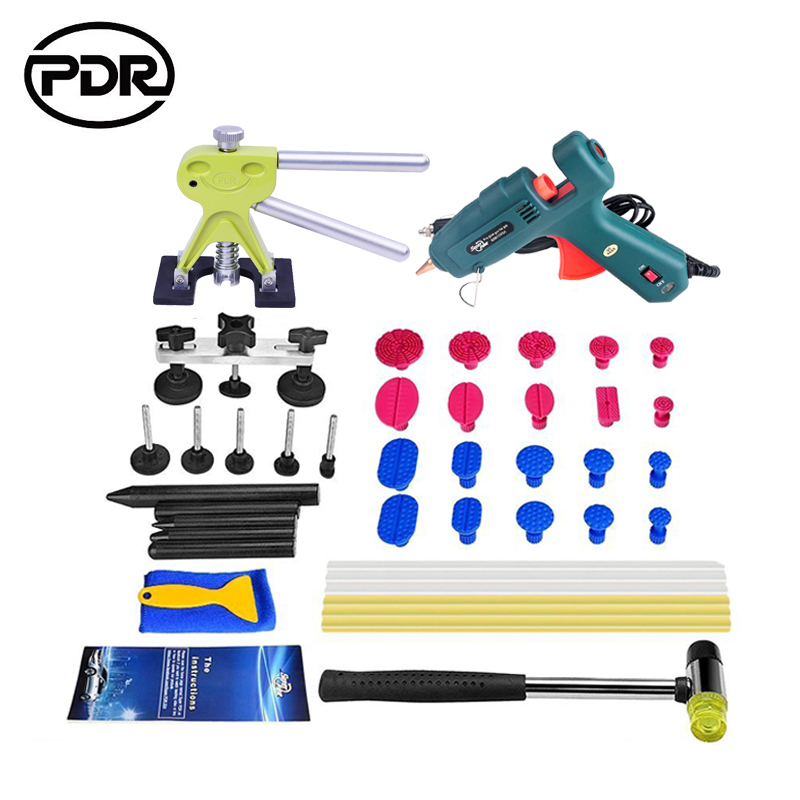 PDR Tools Auto Repair Tools For Car Kit Dent Removal Paintelss Dent Repair Mini Lifter Glue Gun Pulling Bridge Puller Glue Tabs  pdr rods kit with slider hammer dent lifter bridge puller set led line board glue stricks pro pulling tabs kit for pop a dent