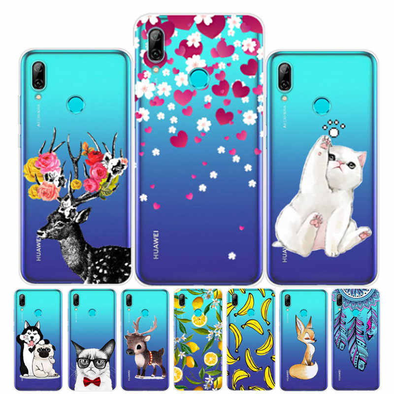 "6.21"" For Huawei P Smart 2019 Case Silicone Soft TPU Cover Transparent Cute Cat Capa For Huawei PSmart 2019 POT-LX1 Phone Case"