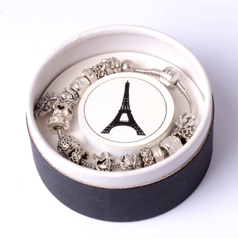 Eiffel Tower Printed Bracelet Ring Earrings Jewelry Box Women Round