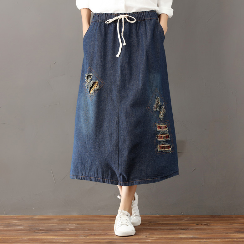 2018 Women Preppy Long Denim Skirt Spring New Mori Girl High Waist Casual Vintage Patch Hole A-line Denim Skirt Femme Saias XL