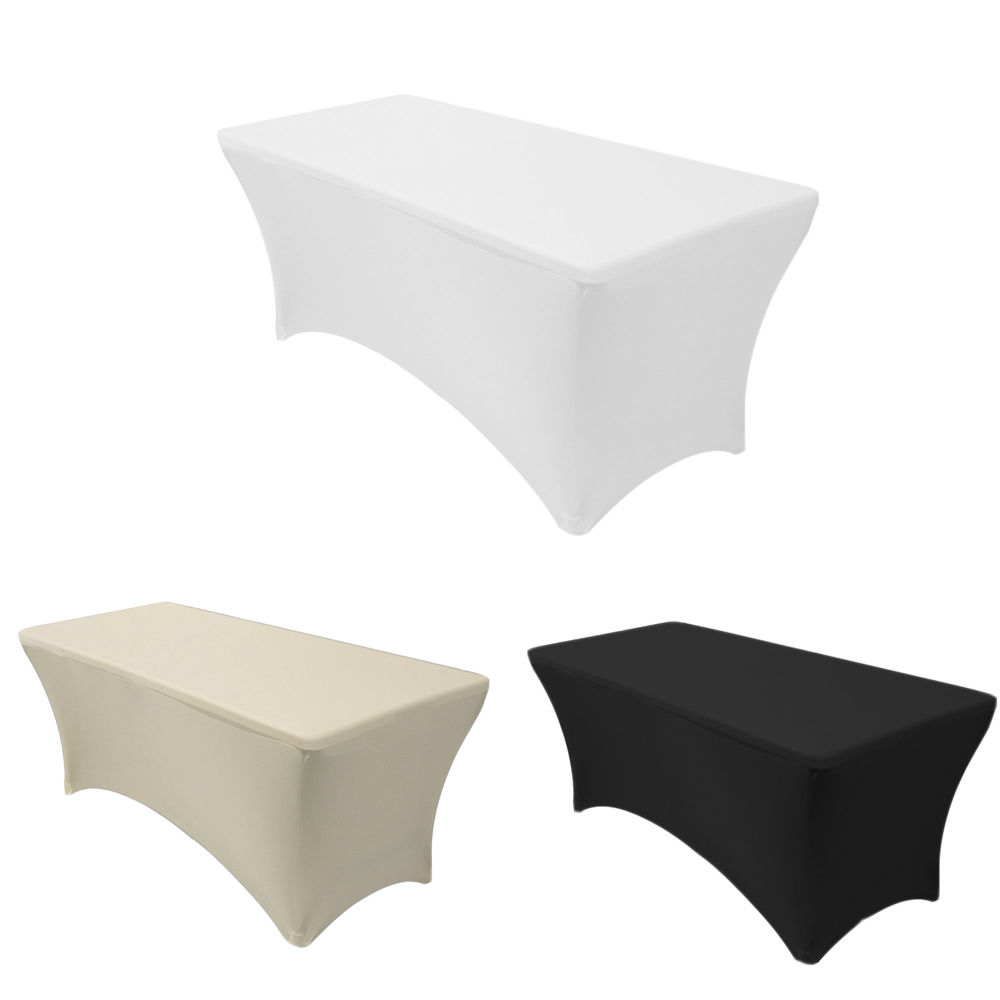 5 pcs/ Pack 4FT Rectangular Lycra Tablecloth Table Cover for Wedding Party Restaurant Banquet Decorations-L1