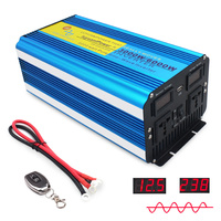 6000W outing/Home/ with Dual LED Display pure sine wave DC 12V/24V TO AC 220V/230V/240V 3.1A USB wireless control power Inverter