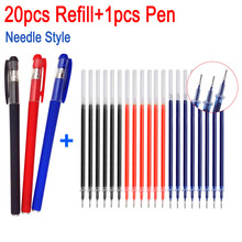 20pcs+1Pen Gel Pen Refill 0.5mm Needle tip Office Signature Pen Rod Red Blue Black Ink Office School Stationery Accessory Supply pentel gel ink rollball pen quick drying metal body needle tip black ink 0 5mm japan black blue red silve body color bln2005