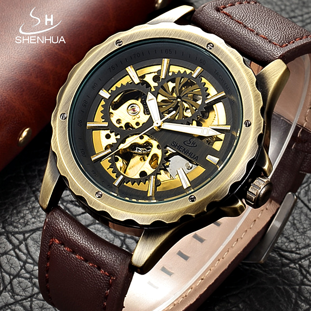 SHENHUA Retro Skeleton Automatic Mechanical Watch Vintage Bronze Plated Steampunk Wrist Watches Men Leather Transparent Clock цена 2017