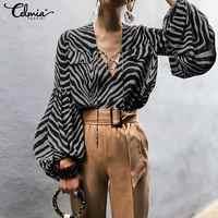 2019 sommer Frauen Blusen Shirts Celmia Casual Lose Lange Laterne Hülse Sexy V-ausschnitt Tops Celmia Zebra-Print Blusas Plus Größe