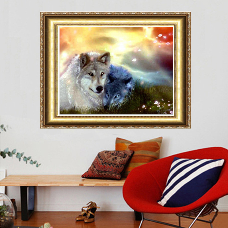 2018 Direct Selling New Wolf Lovers Diy Diamond Painting Dreamscape For Square Drill Full Rhinestone Past-decorative Unfinish