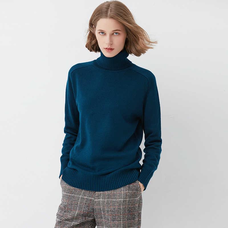 Penjahit Domba Baju Musim Dingin Wanita Tinggi Leher Kasmir Pullover Wanita Malas Pendek Longgar Sweater Tebal Merajut Bottoming Wol Kemeja