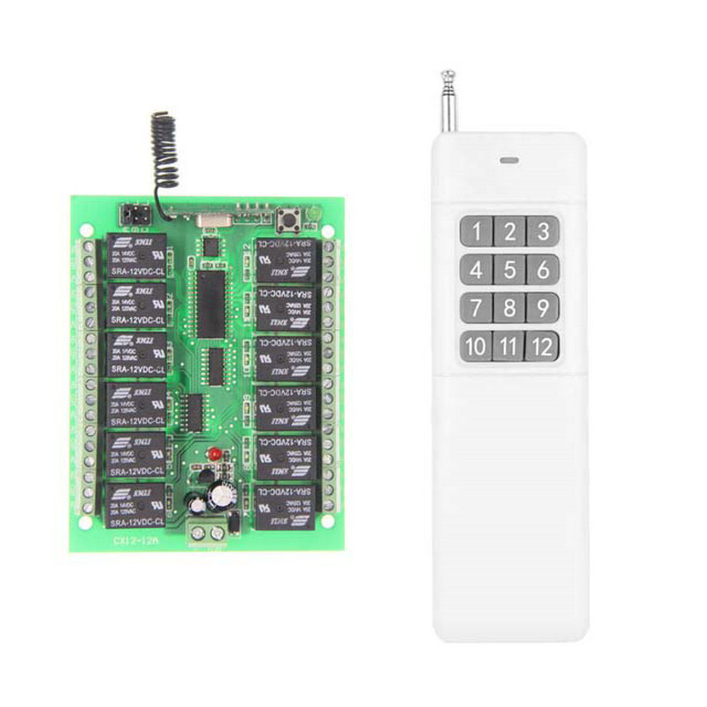 3000M Long Range DC 12V 24V 12 CH 12CH RF Wireless Remote Control Switch System,315/433 MHz,Transmitter + Receiver 12ch 3000m long distance high power dc 9v 12v 24v 1 ch 1ch rf wireless remote control switch system transmitter receiver