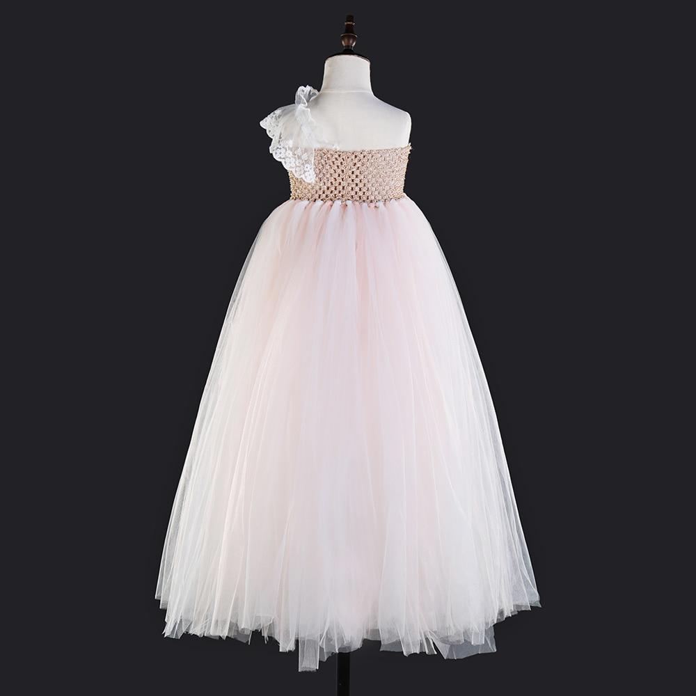 Flower Girls One Shoulder Toddler Party Dress Beige Top Pink White Polyester Tulle Lace Evening Dresses Vintage Dress Kids Tutu (3)