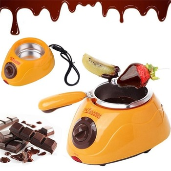 Hot Sale 20W Durable Stainless Chocolate Melting Pot Electric Fondue Melter Machine Set DIY Chocolate Tool EU plug Chocolate Fountains