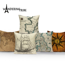 World Map Cushion Cover Europe Retro Ship Home Sofa Decor Pillow Cover Pillowcase Car Cushions Polyester Throw Pillow Case retro world map pattern flax square shape pillowcase without pillow inner