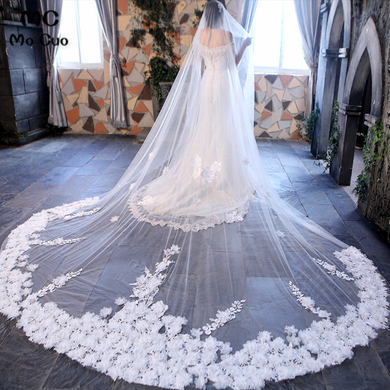 High End 350*300cm Amazing Cathedral Long Wedding Veils Long Special Special Bridal Veil Wedding Accessories Bride Wedding Veil