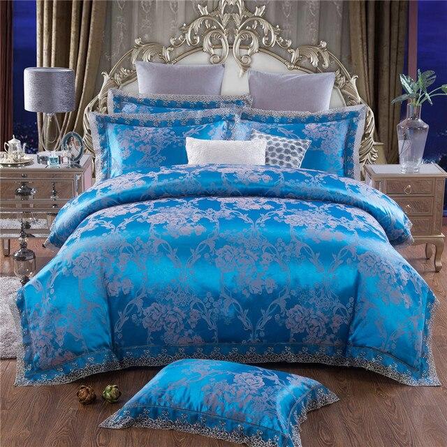 L17 Royal Blue Quilt Cover Set 4pcs Jacquard Bedding Sets Lace Edge Queen King Size Tribute