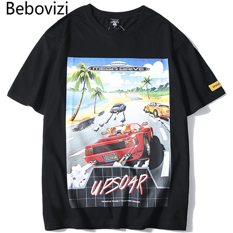 Bebovizi 2019 Fashion Car Print Tshirts Men Hip Hop Casual Streetwear Cotton Tops Tee Summer Male Hipster Short Sleeve T Shirts in T Shirts from Men 39 s Clothing