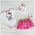 2016 Nueva Baby Girl Set Bebés Mono 3 unids Sombrero de Encaje + Hello Kitty Romper + Traje de Falda Ropa Roupas De Menina Bebé
