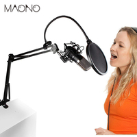 MAONO Condenser Microphone Kit Podcast Mic with Boom Arm Microphone Stand Shock Mount Pop Filter for Koraoke YouTube Recording