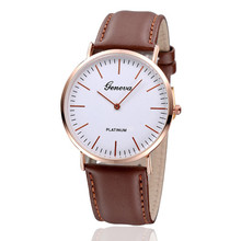 2017 HOT Vogue Luxurious Mens Womens Impartial Geneva Gold shell Easy Leather-based Watch relogio masculino unique Freeshipping