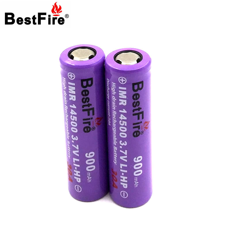 Bestfire 14500 Battery 3.7V 900mAh 30A Rechargeable Li-ion Battery for E Cigarette Flashlight Led Torch Light 2pcs/lot