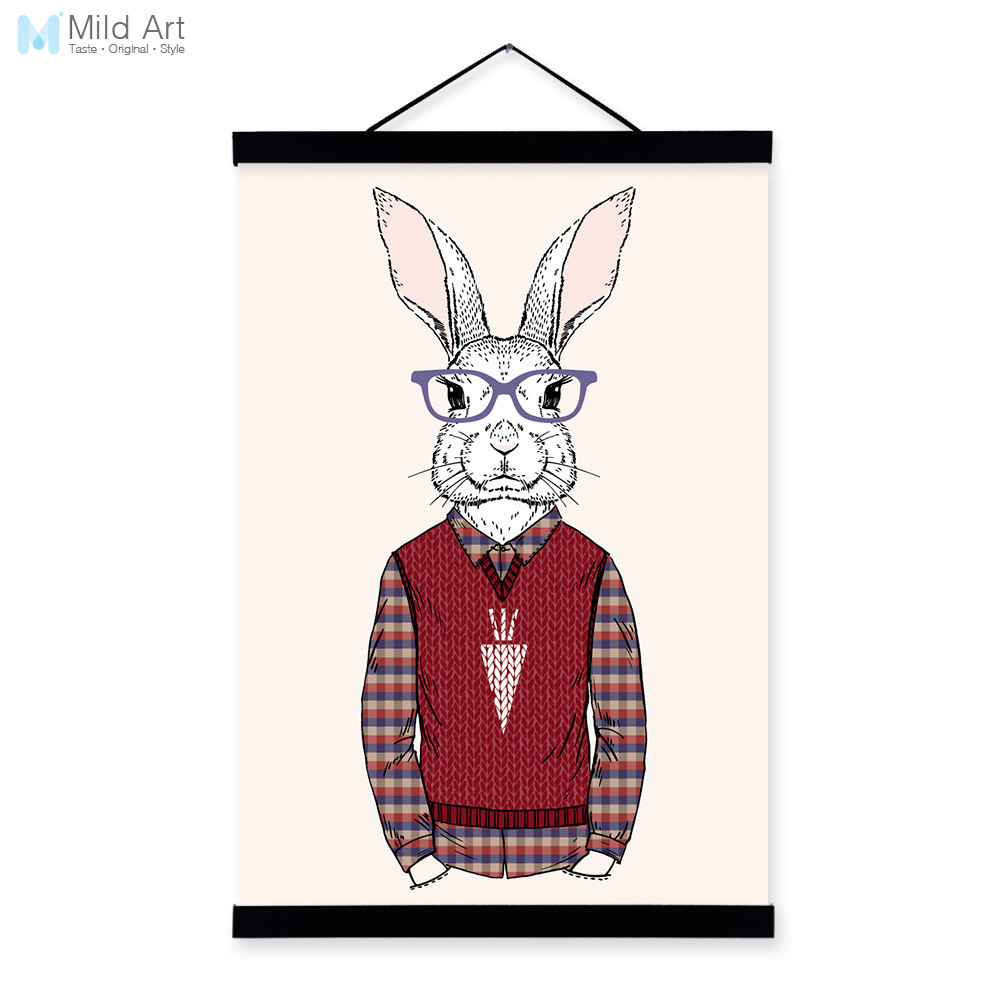 Red Bunny Rabbit Modern Fashion Gentleman Animal <font><b>Hipster</b></font> Framed Canvas Painting Wall Art Prints Picture Poster Scroll <font><b>Home</b></font> <font><b>Decor</b></font>