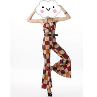 2016 Newest Fashion Design Retro Hippie Clothing 60s 70s Retro Hippie Disco Costumes Women Sleeveless Jumpsuit