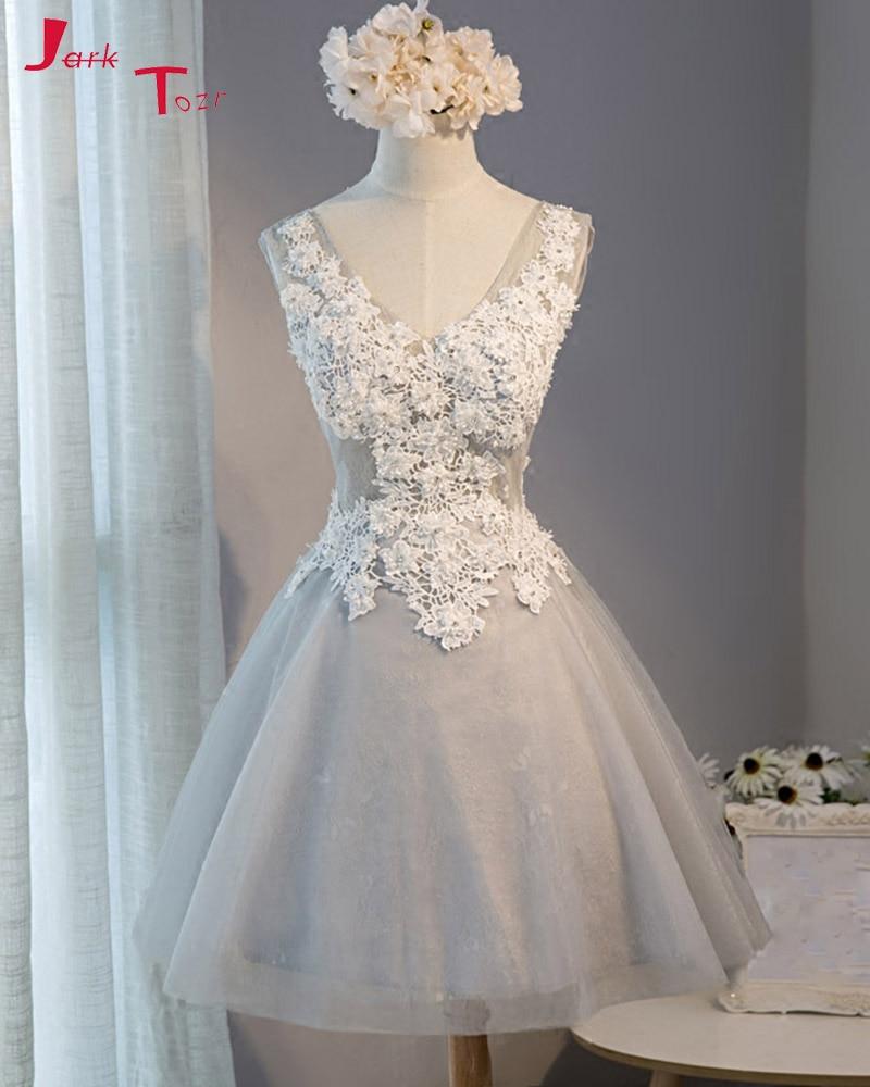 Jark Tozr V-neck White Appliques Bodice   Bridesmaid     Dresses   2019 Gray Tulle Backless Vestido Madrinha Above Knee Nedime Elbiseler