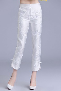 2019 Chinese style vintage women trousers embroidery pants