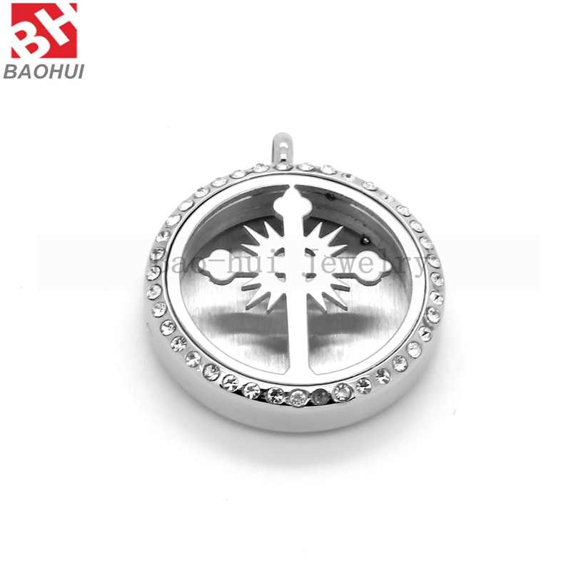 BOFEE Cross Aromatherapy Diffuser Perfume Locket Necklace Pendant Stainless Steel Essential Oil Crystal Chain DIY Jewelry Gift in Pendants from Jewelry Accessories