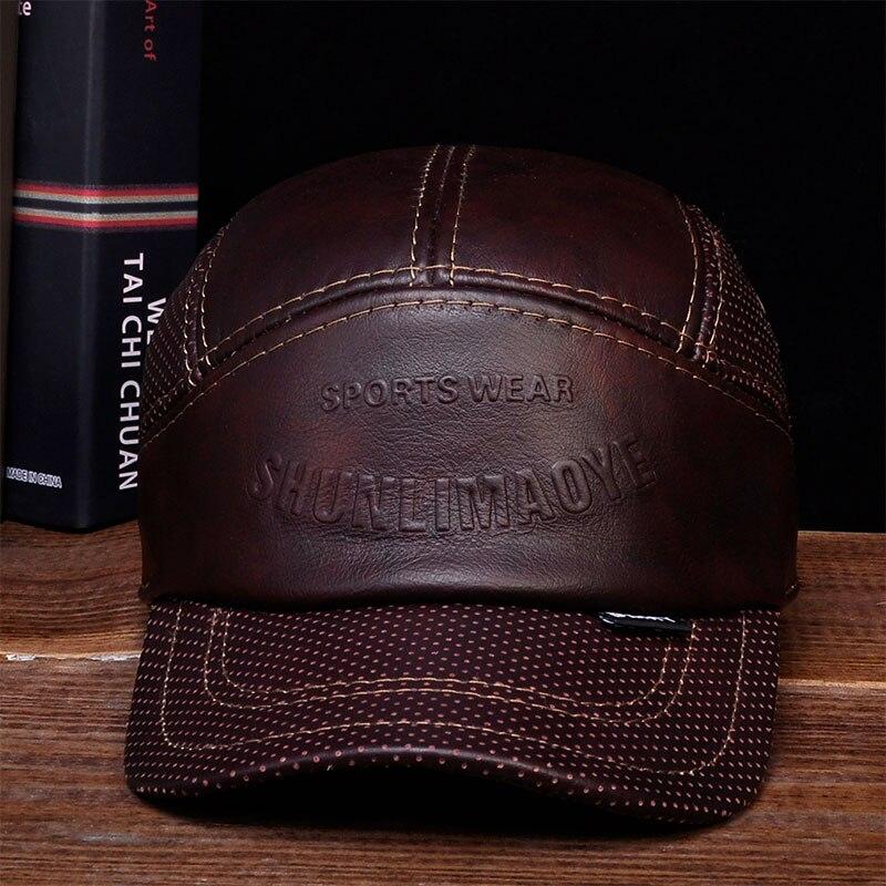HL033 Inverno Genuino Cappello di Cuoio Berretto Da Baseball Degli Uomini CBD di Alta Qualità Vera Pelle da Uomo Adulto Solido
