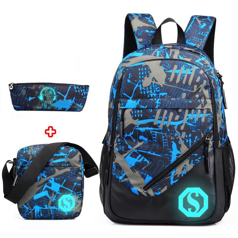 2019 New Graffiti School Backpacks Men Fashion Students School Bags For Teenage Girls Boys Luminous Men Backpacks Travel Mochila