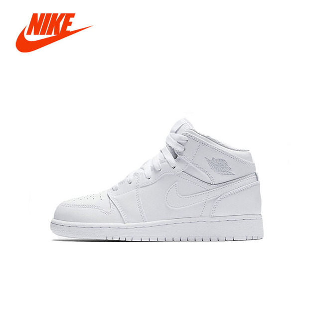 0fc206e718f NIKE NIKE AIR. JORDAN 1 MID Original Girl Kids Basketball Shoes Children  Causal Skateboarding Sneakers
