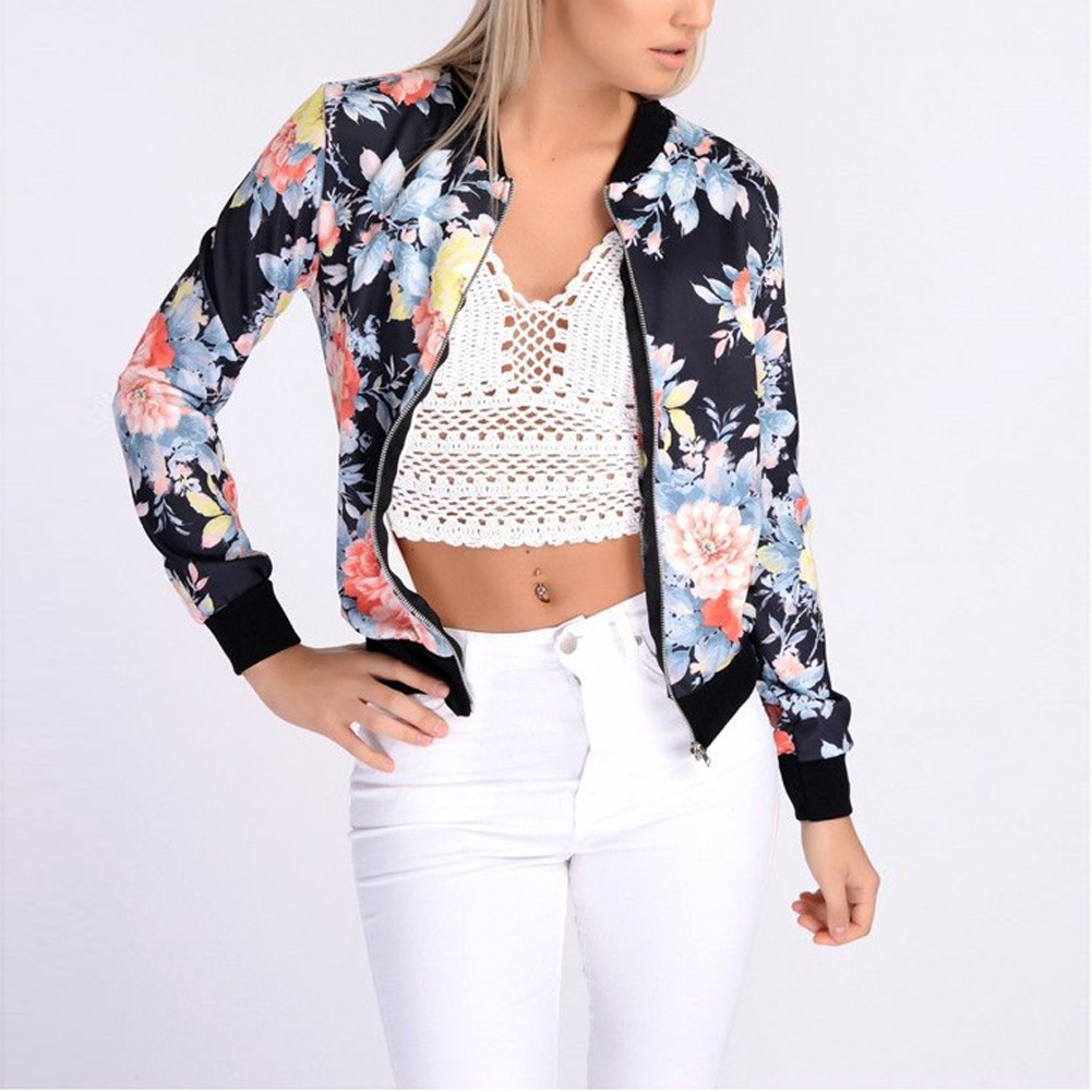 Women Flower Floral Print Jacket Biker Celebrity Camo Bomber Stand Collar Slim Coat Casual Outwear Female Autumn Spring Jacket