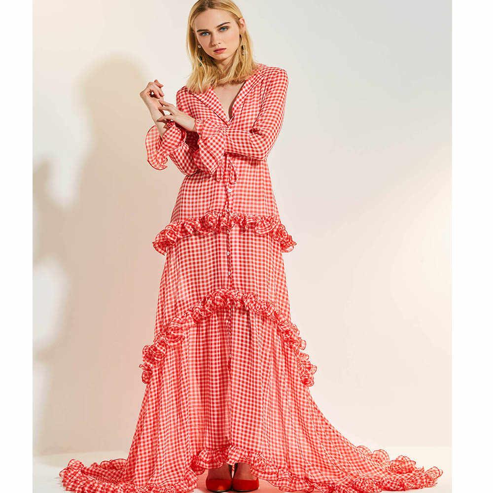 Kinikiss женское вечернее платье Элегантное макси платье в пол клетчатое красное расклешенное платье с длинным рукавом асимметричное летнее платье в стиле ампир