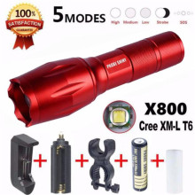 X800 Flashlight LED Zoomable Military Torch G700 Battery Sports Bike Cycling Bicycle Accessories Wholesale May 18