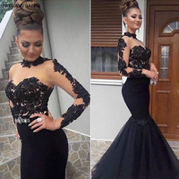 Formal Evening Dresses Sexy See Through Tulle Mermaid Long Formal Dress Robe De Soiree Appliques Long Sleeve Pageant Gowns