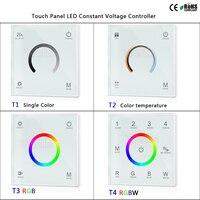 T1/T2/T3/T4 2.4G Painel de Toque montado Parede LEVOU Tensão Constante Controlador de cor única /temperatura de cor/RGB/RGBW tira conduzida