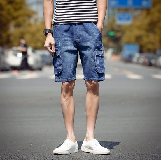 New Fashion Mens Multi-pocket Cargo Ripped Short Jeans Brand Clothing Bermuda Summer Cotton Shorts Breathable Denim Shorts Male